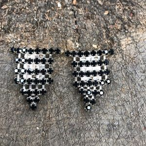 Vintage deco silver & black rhinestone shoe clips